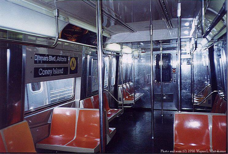 (100k, 742x502)<br><b>Country:</b> United States<br><b>City:</b> New York<br><b>System:</b> New York City Transit<br><b>Route:</b> N<br><b>Car:</b> R-68A (Kawasaki, 1988-1989)  5057 <br><b>Photo by:</b> Wayne Whitehorne<br><b>Date:</b> 10/18/1998<br><b>Viewed (this week/total):</b> 0 / 10164