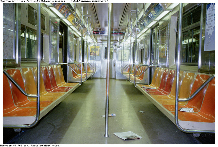 (88k, 736x495)<br><b>Country:</b> United States<br><b>City:</b> New York<br><b>System:</b> New York City Transit<br><b>Car:</b> R-62A (Bombardier, 1984-1987)  Interior <br><b>Photo by:</b> Adam Weiss<br><b>Date:</b> 1997<br><b>Viewed (this week/total):</b> 2 / 16954