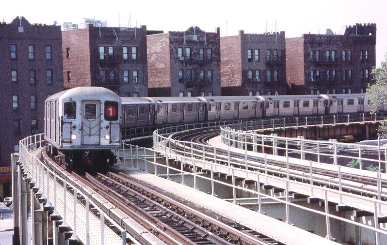 (154k, 798x506)<br><b>Country:</b> United States<br><b>City:</b> New York<br><b>System:</b> New York City Transit<br><b>Line:</b> IRT Brooklyn Line<br><b>Location:</b> Saratoga Avenue <br><b>Route:</b> 1<br><b>Car:</b> R-62A (Bombardier, 1984-1987)  1816 <br><b>Photo by:</b> George Chiasson Jr.<br><b>Date:</b> 9/23/2001<br><b>Notes:</b> Extended to New Lots Ave. as part of the WTC Emergency plan, an eastbound #1 train swings around the curve west of Saratoga Ave.<br><b>Viewed (this week/total):</b> 0 / 9622