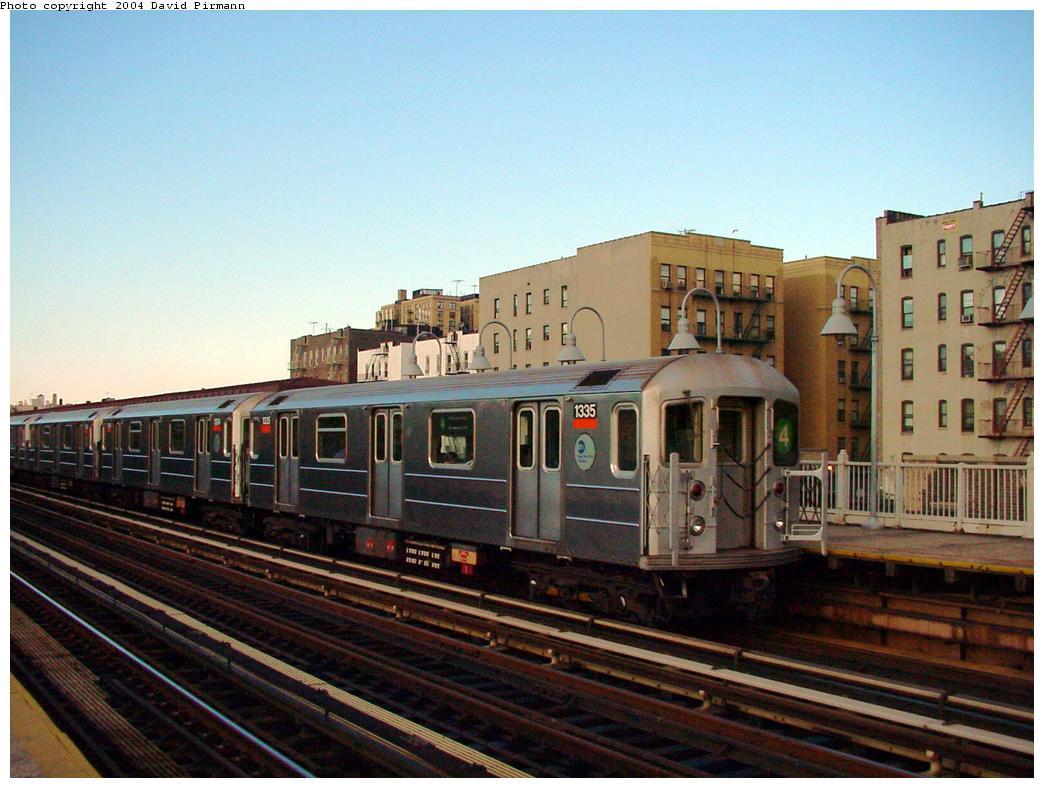 (123k, 1044x788)<br><b>Country:</b> United States<br><b>City:</b> New York<br><b>System:</b> New York City Transit<br><b>Line:</b> IRT Woodlawn Line<br><b>Location:</b> Mt. Eden Avenue <br><b>Route:</b> 4<br><b>Car:</b> R-62 (Kawasaki, 1983-1985)  1335 <br><b>Photo by:</b> David Pirmann<br><b>Date:</b> 7/12/2001<br><b>Viewed (this week/total):</b> 0 / 4737
