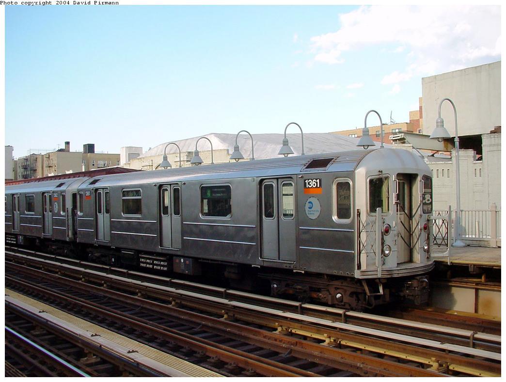 (119k, 1044x788)<br><b>Country:</b> United States<br><b>City:</b> New York<br><b>System:</b> New York City Transit<br><b>Line:</b> IRT Woodlawn Line<br><b>Location:</b> 183rd Street <br><b>Route:</b> 4<br><b>Car:</b> R-62 (Kawasaki, 1983-1985)  1361 <br><b>Photo by:</b> David Pirmann<br><b>Date:</b> 7/12/2001<br><b>Viewed (this week/total):</b> 1 / 3890