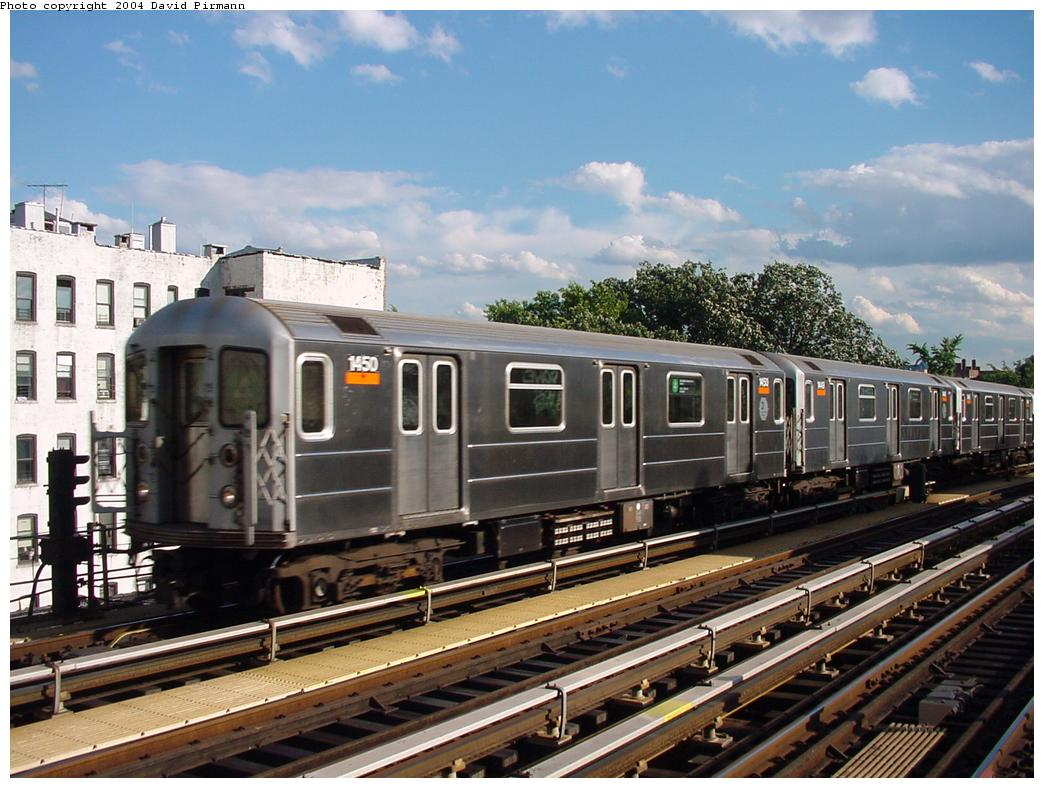 (137k, 1044x788)<br><b>Country:</b> United States<br><b>City:</b> New York<br><b>System:</b> New York City Transit<br><b>Line:</b> IRT Woodlawn Line<br><b>Location:</b> Kingsbridge Road <br><b>Route:</b> 4<br><b>Car:</b> R-62 (Kawasaki, 1983-1985)  1450 <br><b>Photo by:</b> David Pirmann<br><b>Date:</b> 7/12/2001<br><b>Viewed (this week/total):</b> 0 / 5020