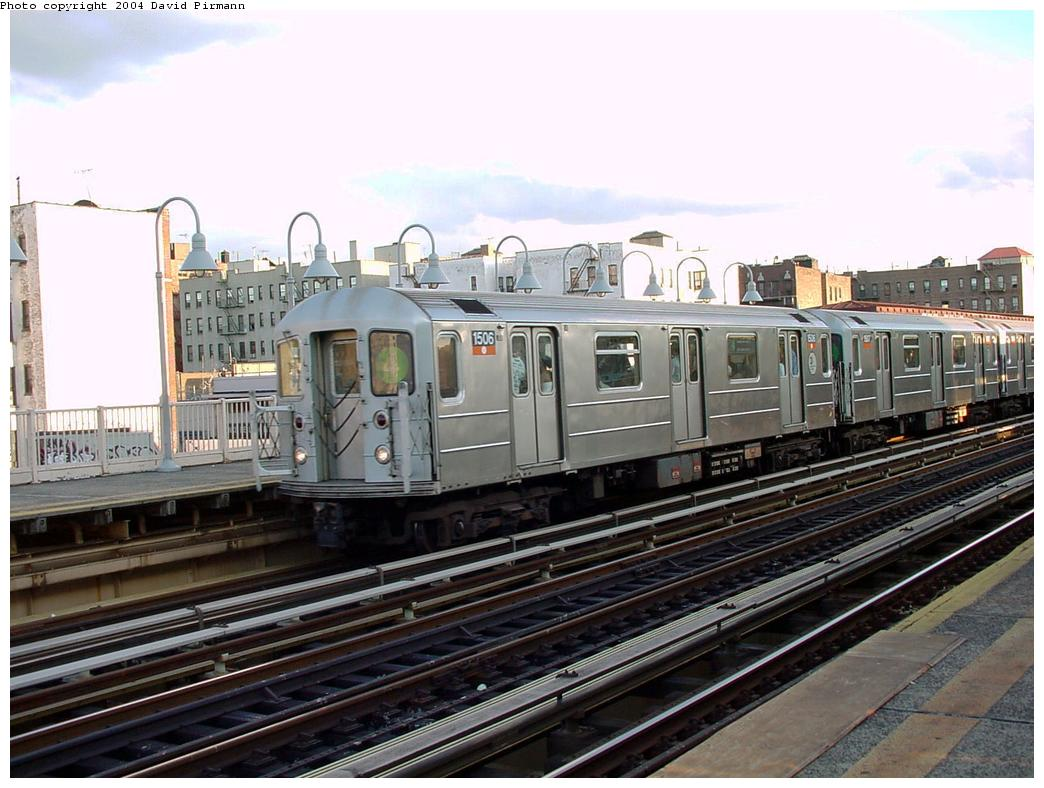 (132k, 1044x788)<br><b>Country:</b> United States<br><b>City:</b> New York<br><b>System:</b> New York City Transit<br><b>Line:</b> IRT Woodlawn Line<br><b>Location:</b> 167th Street <br><b>Route:</b> 4<br><b>Car:</b> R-62 (Kawasaki, 1983-1985)  1506 <br><b>Photo by:</b> David Pirmann<br><b>Date:</b> 7/12/2001<br><b>Viewed (this week/total):</b> 2 / 4123