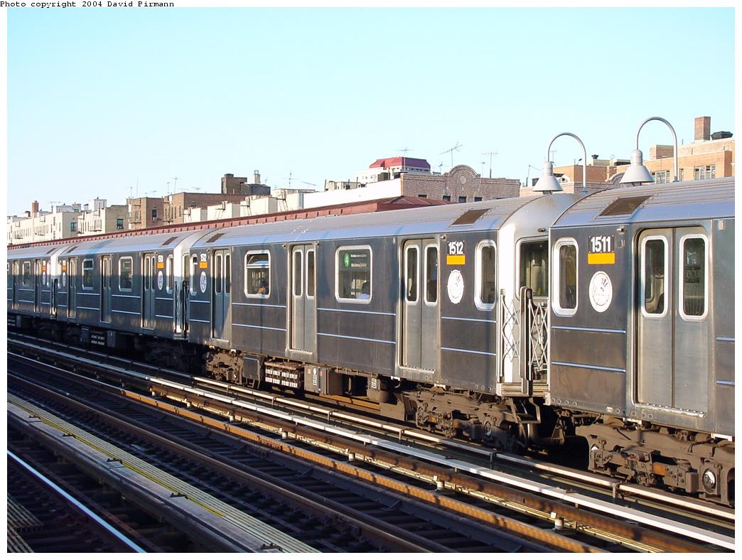 (139k, 1044x788)<br><b>Country:</b> United States<br><b>City:</b> New York<br><b>System:</b> New York City Transit<br><b>Line:</b> IRT Woodlawn Line<br><b>Location:</b> 170th Street <br><b>Route:</b> 4<br><b>Car:</b> R-62 (Kawasaki, 1983-1985)  1512 <br><b>Photo by:</b> David Pirmann<br><b>Date:</b> 7/12/2001<br><b>Viewed (this week/total):</b> 2 / 3643