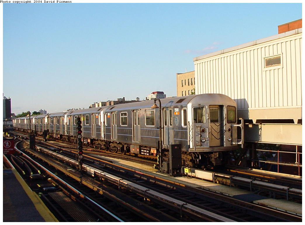 (119k, 1044x770)<br><b>Country:</b> United States<br><b>City:</b> New York<br><b>System:</b> New York City Transit<br><b>Line:</b> IRT Woodlawn Line<br><b>Location:</b> 167th Street <br><b>Route:</b> 4<br><b>Car:</b> R-62 (Kawasaki, 1983-1985)  1590 <br><b>Photo by:</b> David Pirmann<br><b>Date:</b> 7/12/2001<br><b>Viewed (this week/total):</b> 2 / 4219