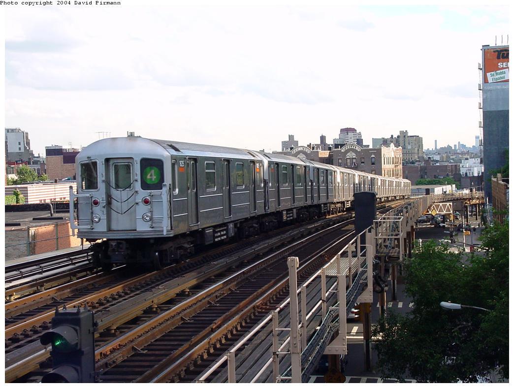 (131k, 1044x788)<br><b>Country:</b> United States<br><b>City:</b> New York<br><b>System:</b> New York City Transit<br><b>Line:</b> IRT Woodlawn Line<br><b>Location:</b> 183rd Street <br><b>Route:</b> 4<br><b>Car:</b> R-62A (Bombardier, 1984-1987)  1625 <br><b>Photo by:</b> David Pirmann<br><b>Date:</b> 7/12/2001<br><b>Viewed (this week/total):</b> 3 / 4689