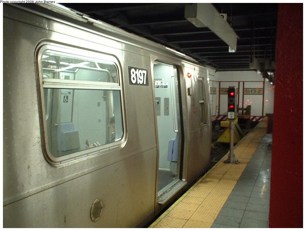 (159k, 1044x788)<br><b>Country:</b> United States<br><b>City:</b> New York<br><b>System:</b> New York City Transit<br><b>Line:</b> BMT Canarsie Line<br><b>Location:</b> 8th Avenue <br><b>Route:</b> L<br><b>Car:</b> R-143 (Kawasaki, 2001-2002) 8197 <br><b>Photo by:</b> John Barnes<br><b>Date:</b> 11/4/2003<br><b>Viewed (this week/total):</b> 1 / 3096