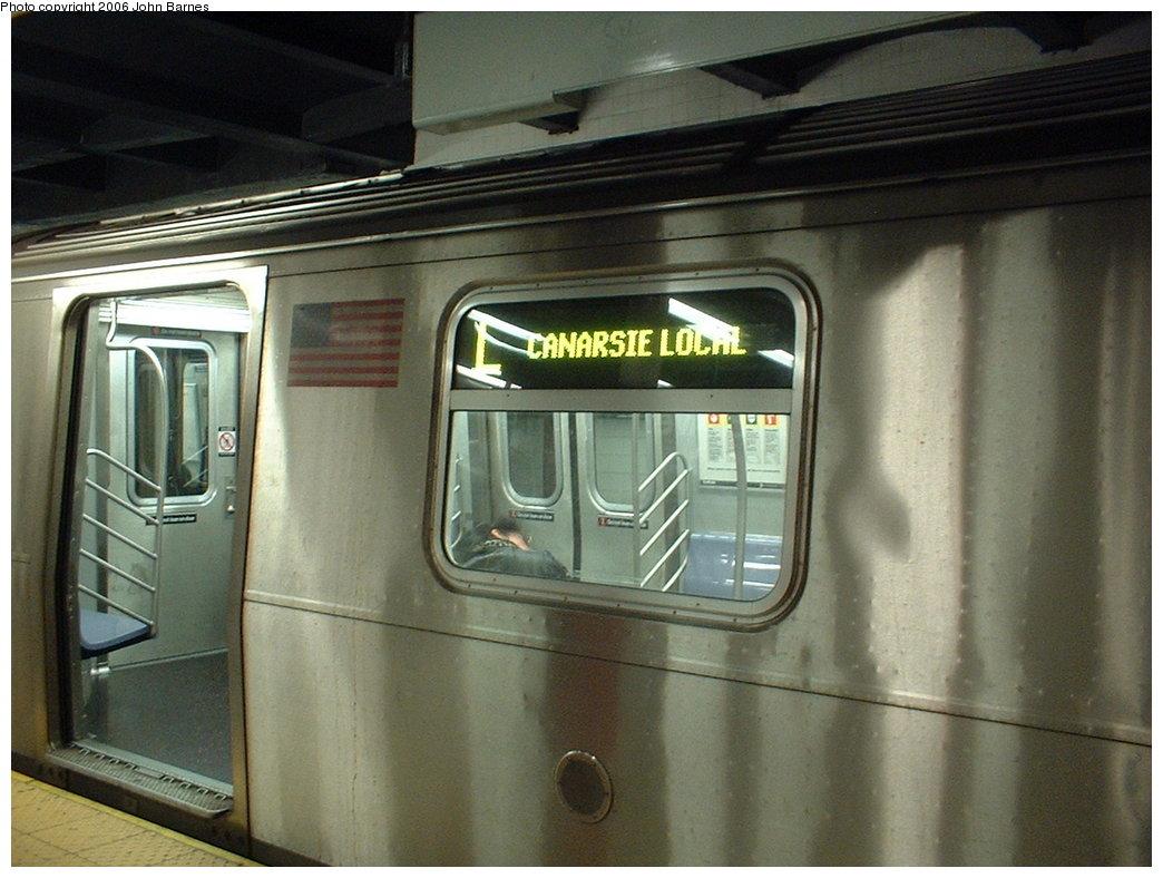 (163k, 1044x788)<br><b>Country:</b> United States<br><b>City:</b> New York<br><b>System:</b> New York City Transit<br><b>Line:</b> BMT Canarsie Line<br><b>Location:</b> 8th Avenue <br><b>Route:</b> L<br><b>Car:</b> R-143 (Kawasaki, 2001-2002) 8197 <br><b>Photo by:</b> John Barnes<br><b>Date:</b> 11/4/2003<br><b>Viewed (this week/total):</b> 0 / 3546