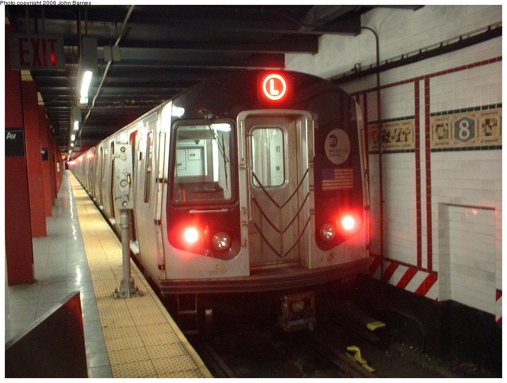 (168k, 1044x788)<br><b>Country:</b> United States<br><b>City:</b> New York<br><b>System:</b> New York City Transit<br><b>Line:</b> BMT Canarsie Line<br><b>Location:</b> 8th Avenue <br><b>Route:</b> L<br><b>Car:</b> R-143 (Kawasaki, 2001-2002) 8197 <br><b>Photo by:</b> John Barnes<br><b>Date:</b> 11/4/2003<br><b>Viewed (this week/total):</b> 0 / 2249
