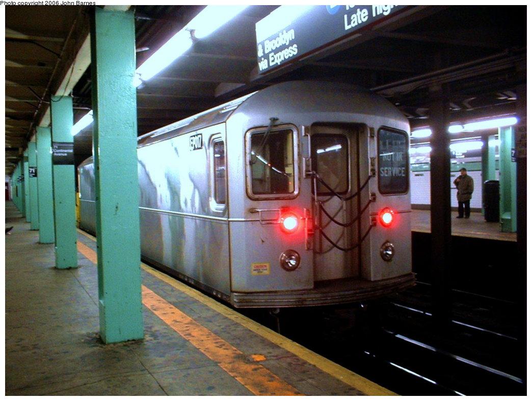 (167k, 1044x788)<br><b>Country:</b> United States<br><b>City:</b> New York<br><b>System:</b> New York City Transit<br><b>Line:</b> IND Queens Boulevard Line<br><b>Location:</b> 71st/Continental Aves./Forest Hills <br><b>Route:</b> Work Service<br><b>Car:</b> R-127/R-134 (Kawasaki, 1991-1996) EP017 <br><b>Photo by:</b> John Barnes<br><b>Date:</b> 11/17/2003<br><b>Viewed (this week/total):</b> 2 / 3196