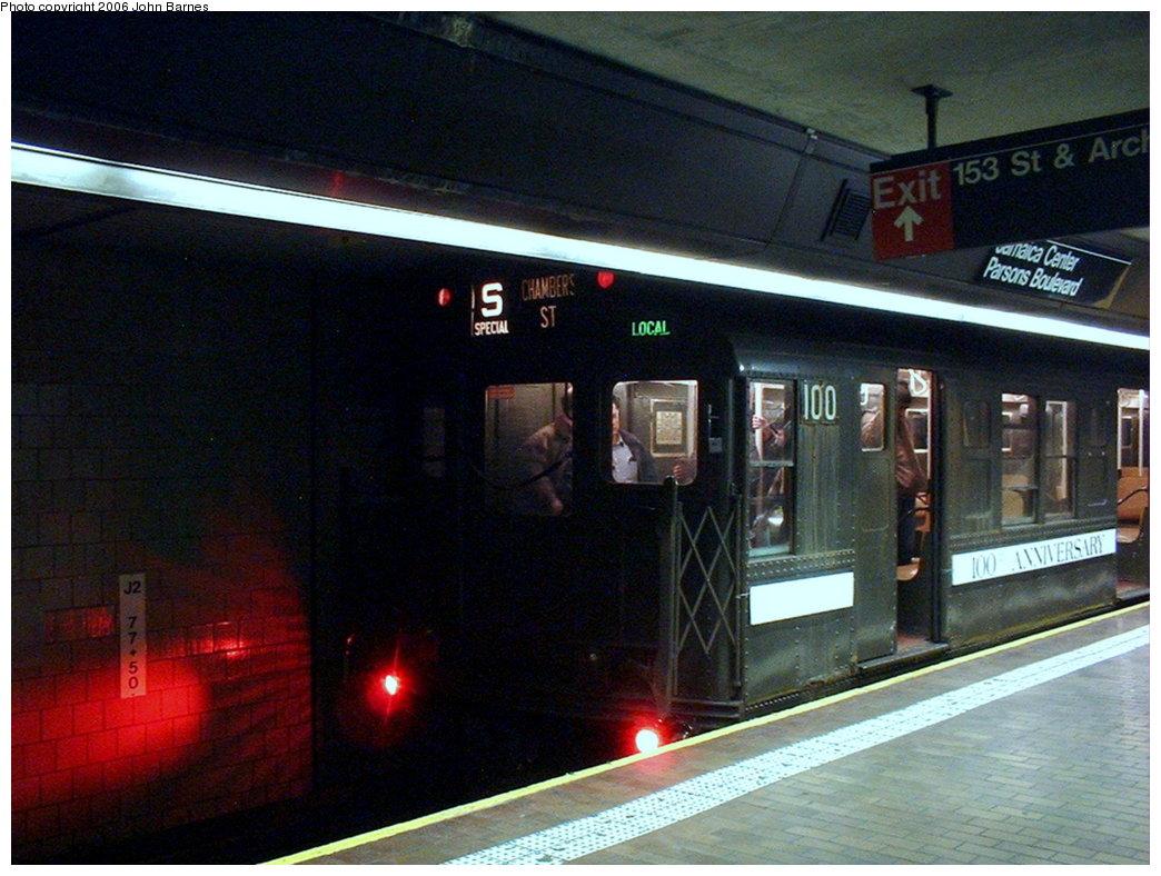 (182k, 1044x788)<br><b>Country:</b> United States<br><b>City:</b> New York<br><b>System:</b> New York City Transit<br><b>Line:</b> IND Queens Boulevard Line<br><b>Location:</b> Jamaica Center/Parsons-Archer <br><b>Route:</b> Fan Trip<br><b>Car:</b> R-1 (American Car & Foundry, 1930-1931) 100 <br><b>Photo by:</b> John Barnes<br><b>Date:</b> 11/9/2003<br><b>Viewed (this week/total):</b> 0 / 3648