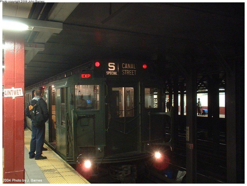 (139k, 1044x788)<br><b>Country:</b> United States<br><b>City:</b> New York<br><b>System:</b> New York City Transit<br><b>Line:</b> BMT Broadway Line<br><b>Location:</b> Canal Street <br><b>Route:</b> Fan Trip<br><b>Car:</b> R-1 (American Car & Foundry, 1930-1931) 100 <br><b>Photo by:</b> John Barnes<br><b>Date:</b> 10/27/2004<br><b>Viewed (this week/total):</b> 0 / 3044