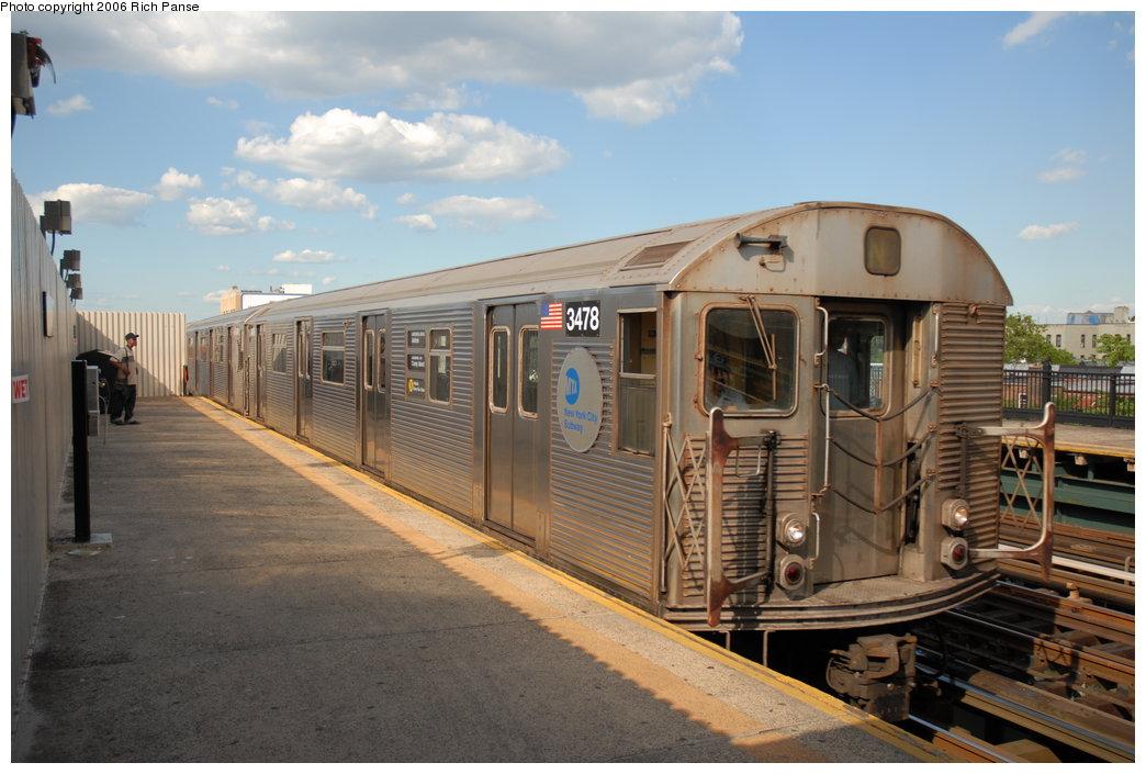 (180k, 1044x705)<br><b>Country:</b> United States<br><b>City:</b> New York<br><b>System:</b> New York City Transit<br><b>Line:</b> BMT Astoria Line<br><b>Location:</b> Broadway <br><b>Route:</b> N<br><b>Car:</b> R-32 (Budd, 1964)  3478 <br><b>Photo by:</b> Richard Panse<br><b>Date:</b> 6/13/2006<br><b>Viewed (this week/total):</b> 1 / 3143