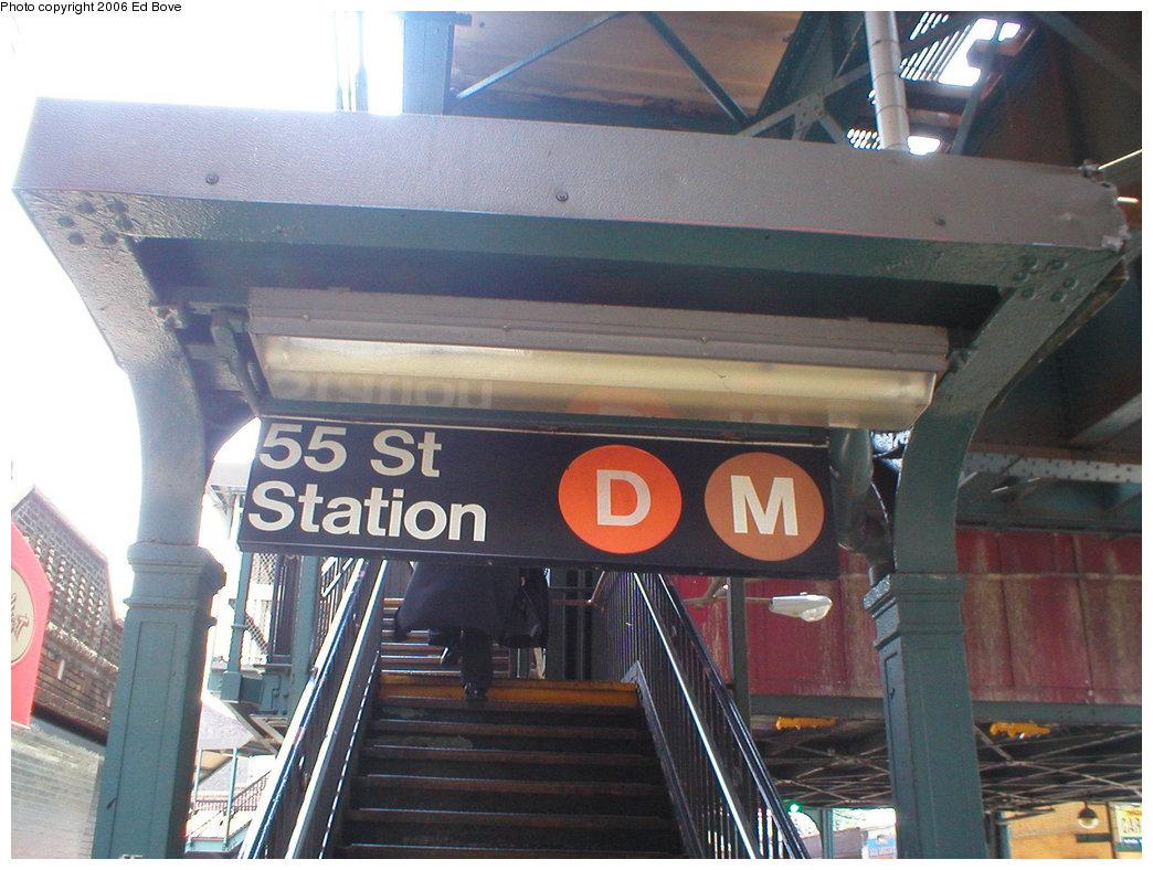 (210k, 1044x788)<br><b>Country:</b> United States<br><b>City:</b> New York<br><b>System:</b> New York City Transit<br><b>Line:</b> BMT West End Line<br><b>Location:</b> 55th Street <br><b>Photo by:</b> Ed Bove<br><b>Date:</b> 6/26/2005<br><b>Notes:</b> Station entrance.<br><b>Viewed (this week/total):</b> 0 / 2206