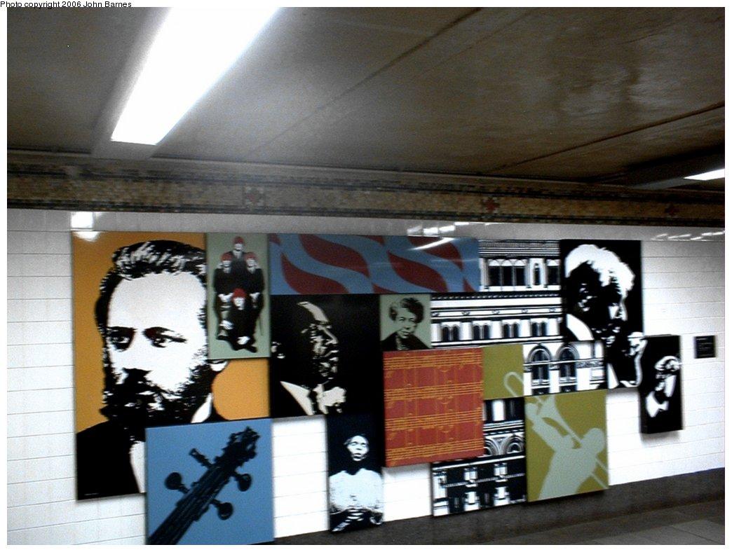 (154k, 1044x788)<br><b>Country:</b> United States<br><b>City:</b> New York<br><b>System:</b> New York City Transit<br><b>Line:</b> BMT Broadway Line<br><b>Location:</b> 57th Street <br><b>Photo by:</b> John Barnes<br><b>Date:</b> 6/17/2006<br><b>Artwork:</b> <i>Carnegie Hall Montage</i>, Josh Scharf (1993).<br><b>Viewed (this week/total):</b> 0 / 3442