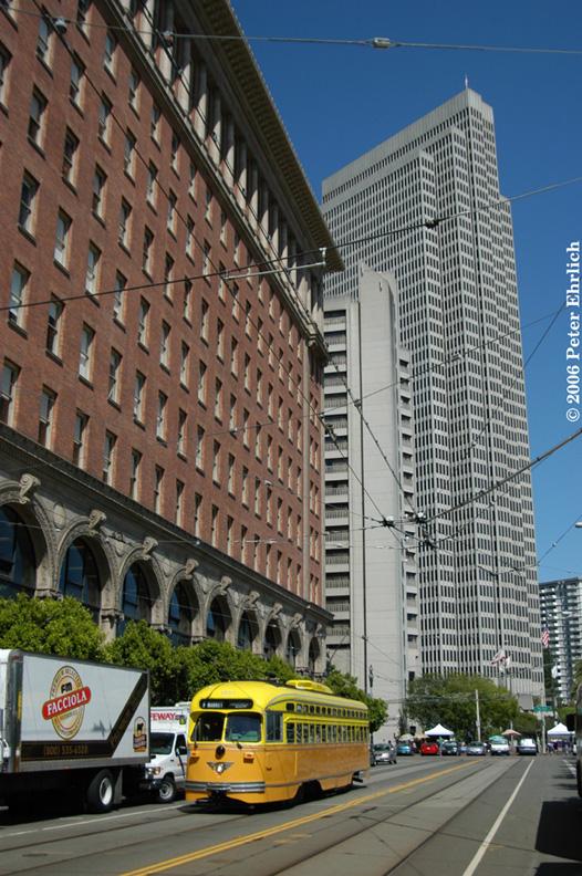 (223k, 526x792)<br><b>Country:</b> United States<br><b>City:</b> San Francisco/Bay Area, CA<br><b>System:</b> SF MUNI<br><b>Location:</b> Steuart/Don Chee Way <br><b>Route:</b> F-Market<br><b>Car:</b> SF MUNI PCC (Ex-SEPTA) (St. Louis Car Co., 1947-1948)  1052 <br><b>Photo by:</b> Peter Ehrlich<br><b>Date:</b> 5/30/2006<br><b>Viewed (this week/total):</b> 0 / 674