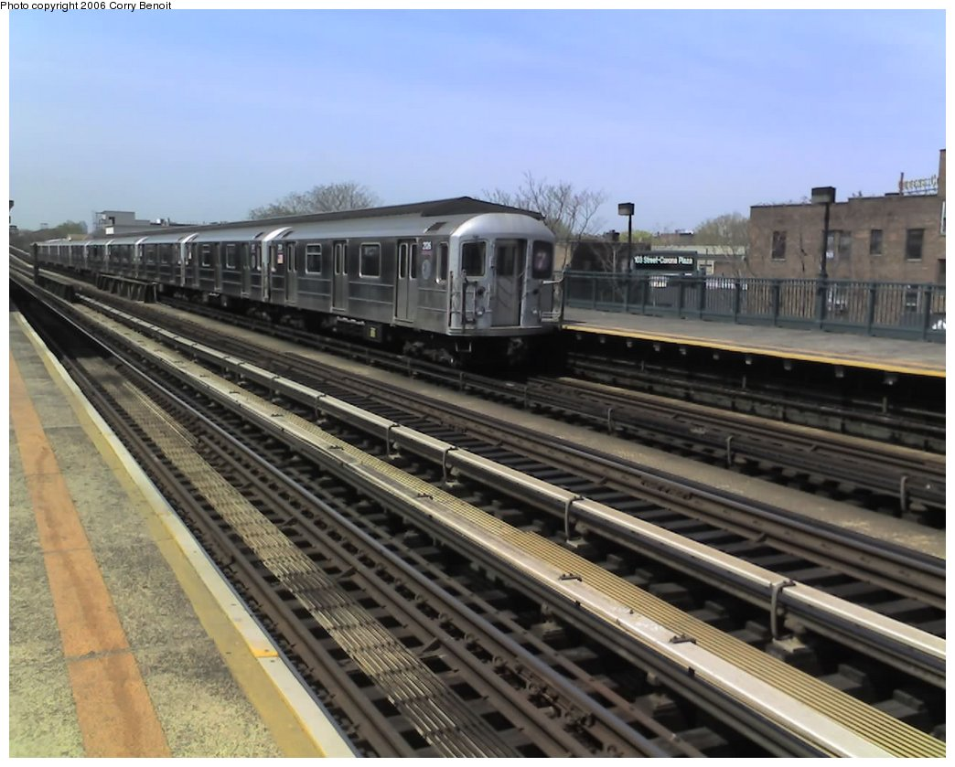 (151k, 1044x839)<br><b>Country:</b> United States<br><b>City:</b> New York<br><b>System:</b> New York City Transit<br><b>Line:</b> IRT Flushing Line<br><b>Location:</b> 103rd Street/Corona Plaza <br><b>Route:</b> 7<br><b>Car:</b> R-62A (Bombardier, 1984-1987)  2126 <br><b>Photo by:</b> Corry Benoit<br><b>Date:</b> 4/21/2006<br><b>Viewed (this week/total):</b> 1 / 2299