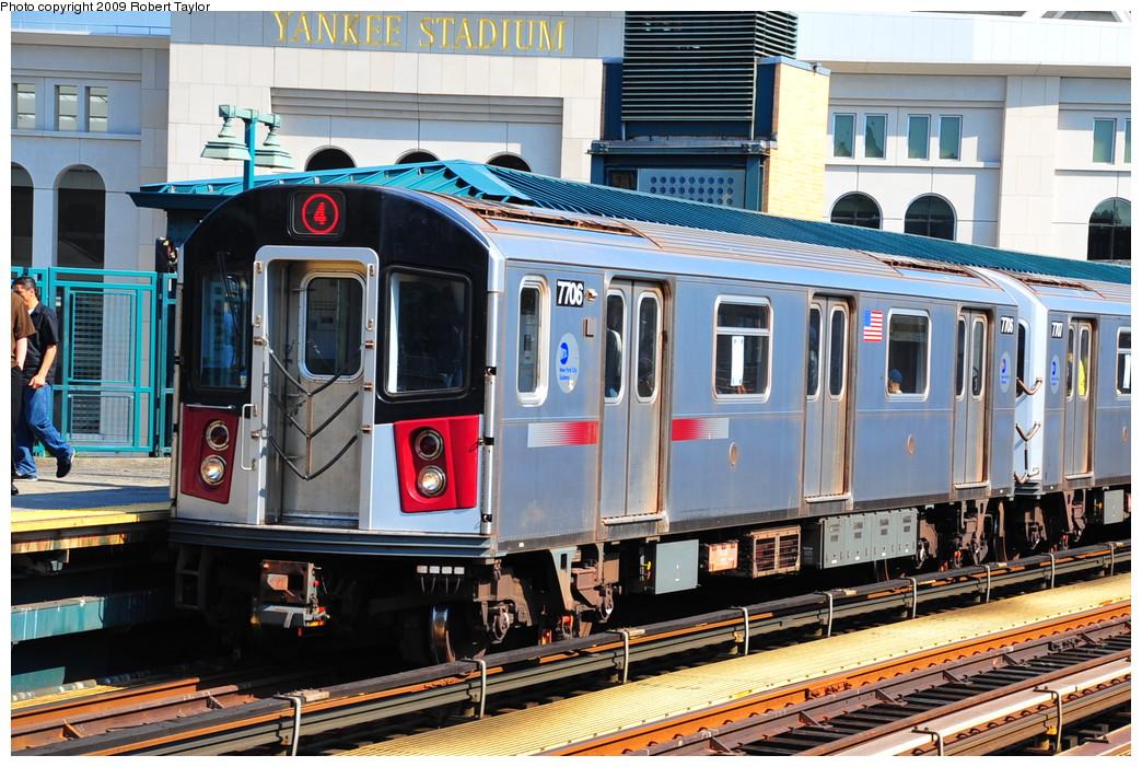(320k, 1044x701)<br><b>Country:</b> United States<br><b>City:</b> New York<br><b>System:</b> New York City Transit<br><b>Line:</b> IRT Woodlawn Line<br><b>Location:</b> 161st Street/River Avenue (Yankee Stadium) <br><b>Route:</b> 4<br><b>Car:</b> R-142A (Option Order, Kawasaki, 2002-2003)  7706 <br><b>Photo by:</b> Robert Taylor<br><b>Date:</b> 8/25/2009<br><b>Viewed (this week/total):</b> 2 / 1768