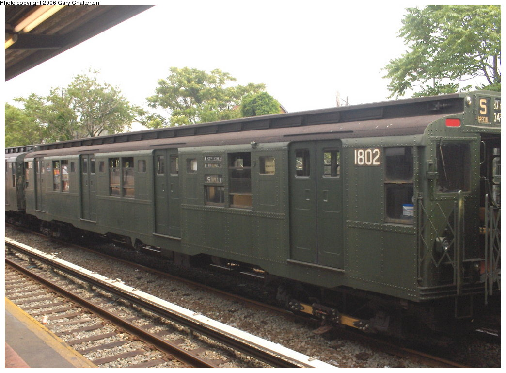 (168k, 1044x769)<br><b>Country:</b> United States<br><b>City:</b> New York<br><b>System:</b> New York City Transit<br><b>Line:</b> IND Rockaway<br><b>Location:</b> Rockaway Park/Beach 116th Street <br><b>Route:</b> Fan Trip<br><b>Car:</b> R-9 (Pressed Steel, 1940)  1802 <br><b>Photo by:</b> Gary Chatterton<br><b>Date:</b> 6/17/2006<br><b>Viewed (this week/total):</b> 1 / 1768