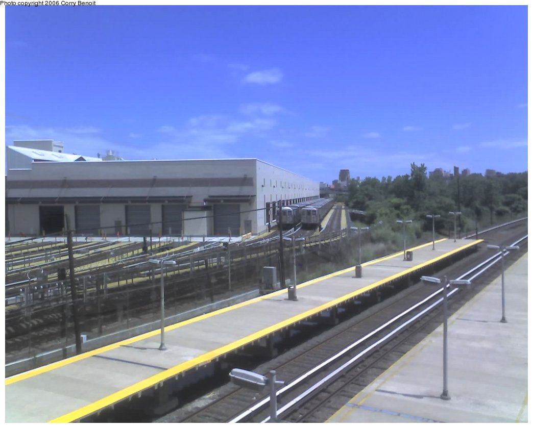 (108k, 1044x839)<br><b>Country:</b> United States<br><b>City:</b> New York<br><b>System:</b> New York City Transit<br><b>Location:</b> Corona Yard<br><b>Car:</b> R-62A (Bombardier, 1984-1987)  <br><b>Photo by:</b> Corry Benoit<br><b>Date:</b> 6/11/2006<br><b>Notes:</b> New shop building and yard tracks. LIRR in foreground.<br><b>Viewed (this week/total):</b> 2 / 3712