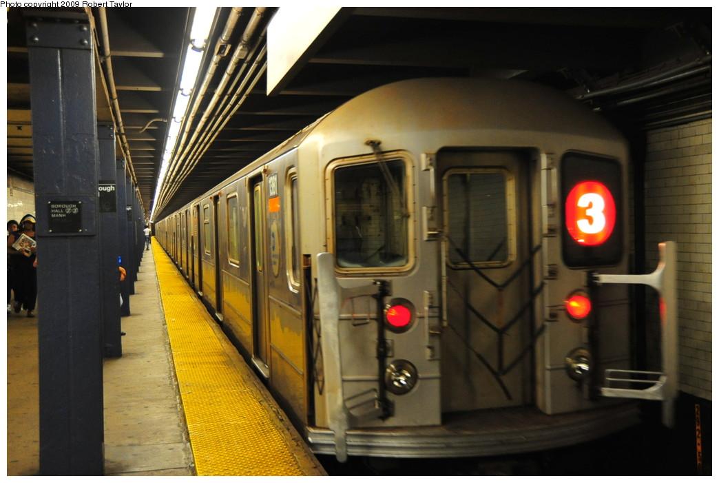 (237k, 1044x701)<br><b>Country:</b> United States<br><b>City:</b> New York<br><b>System:</b> New York City Transit<br><b>Line:</b> IRT Brooklyn Line<br><b>Location:</b> Borough Hall (West Side Branch) <br><b>Route:</b> 3<br><b>Car:</b> R-62 (Kawasaki, 1983-1985)  1381 <br><b>Photo by:</b> Robert Taylor<br><b>Date:</b> 8/26/2009<br><b>Viewed (this week/total):</b> 4 / 1659