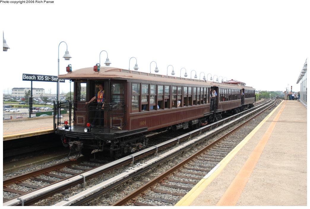 (184k, 1044x705)<br><b>Country:</b> United States<br><b>City:</b> New York<br><b>System:</b> New York City Transit<br><b>Line:</b> IND Rockaway<br><b>Location:</b> Beach 105th Street/Seaside <br><b>Route:</b> Fan Trip<br><b>Car:</b> BMT Elevated Gate Car 1404-1273-1407 <br><b>Photo by:</b> Richard Panse<br><b>Date:</b> 6/17/2006<br><b>Viewed (this week/total):</b> 1 / 3375