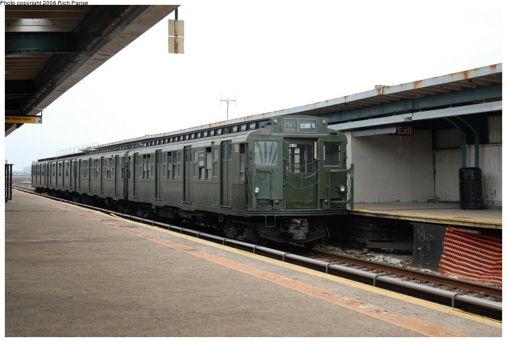 (167k, 1044x705)<br><b>Country:</b> United States<br><b>City:</b> New York<br><b>System:</b> New York City Transit<br><b>Line:</b> IND Rockaway<br><b>Location:</b> Beach 105th Street/Seaside <br><b>Route:</b> Fan Trip<br><b>Car:</b> R-1 (American Car & Foundry, 1930-1931) 381 <br><b>Photo by:</b> Richard Panse<br><b>Date:</b> 6/17/2006<br><b>Viewed (this week/total):</b> 0 / 2546