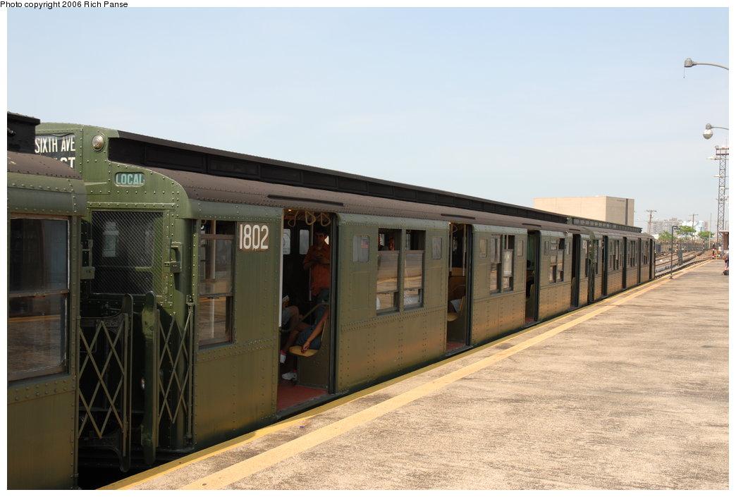 (160k, 1044x705)<br><b>Country:</b> United States<br><b>City:</b> New York<br><b>System:</b> New York City Transit<br><b>Line:</b> IND Rockaway<br><b>Location:</b> Rockaway Park/Beach 116th Street <br><b>Route:</b> Fan Trip<br><b>Car:</b> R-9 (Pressed Steel, 1940)  1802 <br><b>Photo by:</b> Richard Panse<br><b>Date:</b> 6/17/2006<br><b>Viewed (this week/total):</b> 3 / 1979