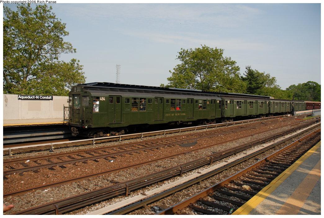(244k, 1044x705)<br><b>Country:</b> United States<br><b>City:</b> New York<br><b>System:</b> New York City Transit<br><b>Line:</b> IND Rockaway<br><b>Location:</b> Aqueduct/North Conduit Avenue <br><b>Route:</b> Fan Trip<br><b>Car:</b> R-4 (American Car & Foundry, 1932-1933) 484 <br><b>Photo by:</b> Richard Panse<br><b>Date:</b> 6/17/2006<br><b>Viewed (this week/total):</b> 0 / 3029