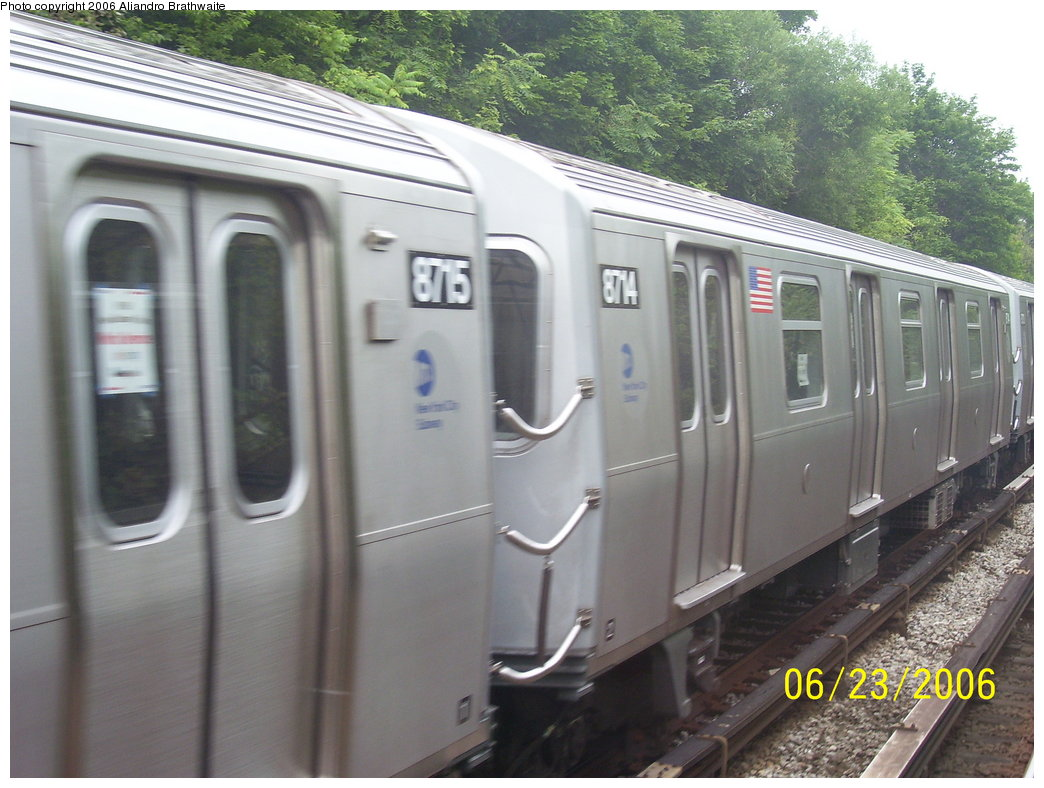 (173k, 1044x788)<br><b>Country:</b> United States<br><b>City:</b> New York<br><b>System:</b> New York City Transit<br><b>Line:</b> BMT Sea Beach Line<br><b>Location:</b> 18th Avenue <br><b>Car:</b> R-160B (Kawasaki, 2005-2008)  8714 <br><b>Photo by:</b> Aliandro Brathwaite<br><b>Date:</b> 6/23/2006<br><b>Notes:</b> Testing on Sea Beach express.<br><b>Viewed (this week/total):</b> 0 / 2388