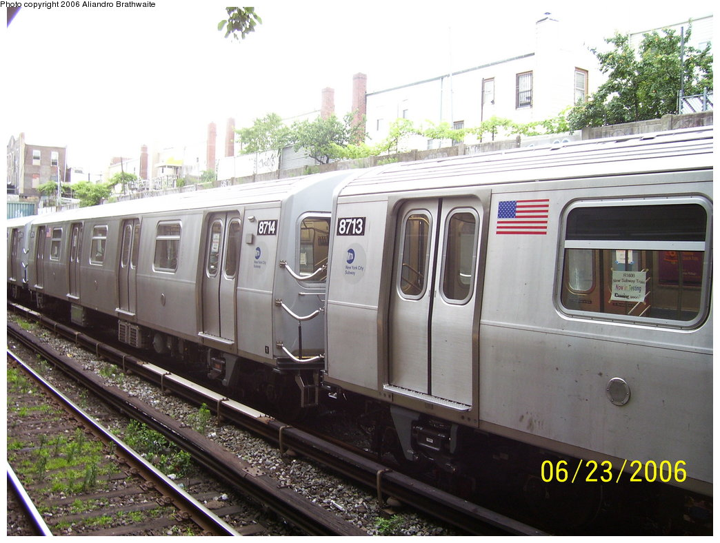 (188k, 1044x788)<br><b>Country:</b> United States<br><b>City:</b> New York<br><b>System:</b> New York City Transit<br><b>Line:</b> BMT Sea Beach Line<br><b>Location:</b> 18th Avenue <br><b>Car:</b> R-160B (Kawasaki, 2005-2008)  8714 <br><b>Photo by:</b> Aliandro Brathwaite<br><b>Date:</b> 6/23/2006<br><b>Notes:</b> Testing on Sea Beach express.<br><b>Viewed (this week/total):</b> 0 / 2585