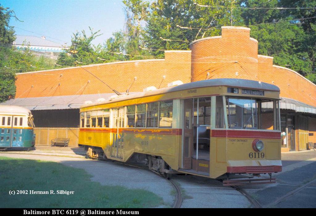 (199k, 1024x701)<br><b>Country:</b> United States<br><b>City:</b> Baltimore, MD<br><b>System:</b> Baltimore Streetcar Museum <br><b>Car:</b>  6119 <br><b>Photo by:</b> Herman R. Silbiger<br><b>Date:</b> 2002<br><b>Viewed (this week/total):</b> 0 / 1138
