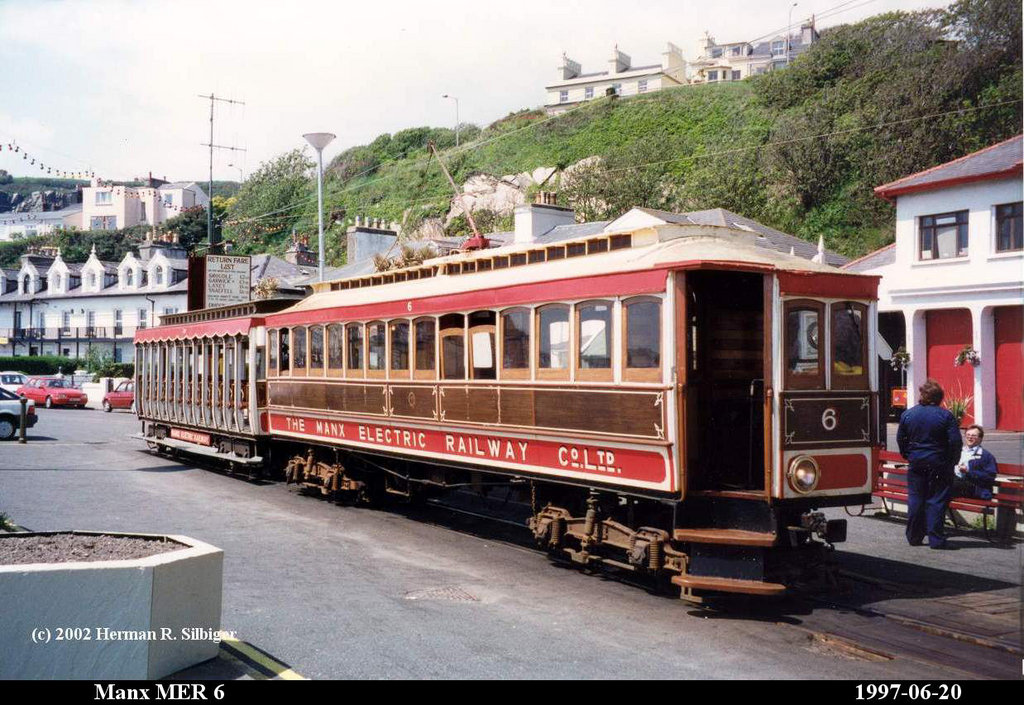 (212k, 1024x705)<br><b>Country:</b> Isle of Man (U.K.)<br><b>System:</b> Manx Electric Railway<br><b>Location:</b> Derby Castle/Douglas <br><b>Car:</b>  6 <br><b>Photo by:</b> Herman R. Silbiger<br><b>Date:</b> 6/20/1997<br><b>Viewed (this week/total):</b> 1 / 1326