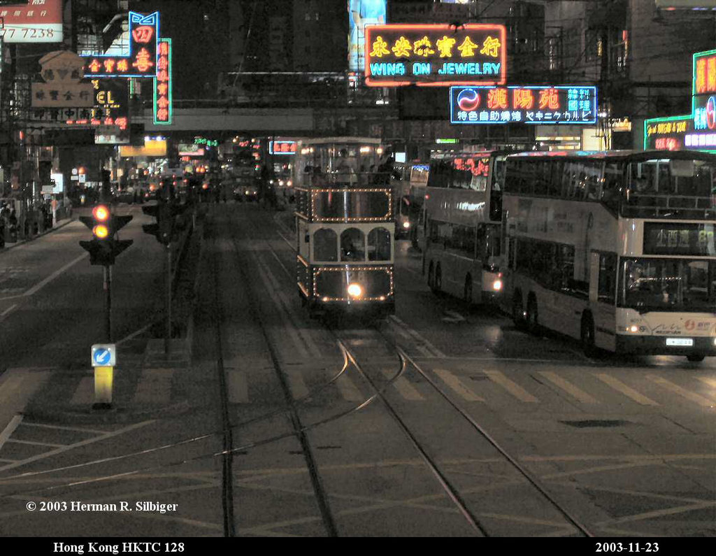 (199k, 1024x795)<br><b>Country:</b> China (Hong Kong)<br><b>City:</b> Hong Kong<br><b>System:</b> Hong Kong Tramway Ltd.<br><b>Car:</b>  128 <br><b>Photo by:</b> Herman R. Silbiger<br><b>Date:</b> 11/22/2003<br><b>Viewed (this week/total):</b> 2 / 1404