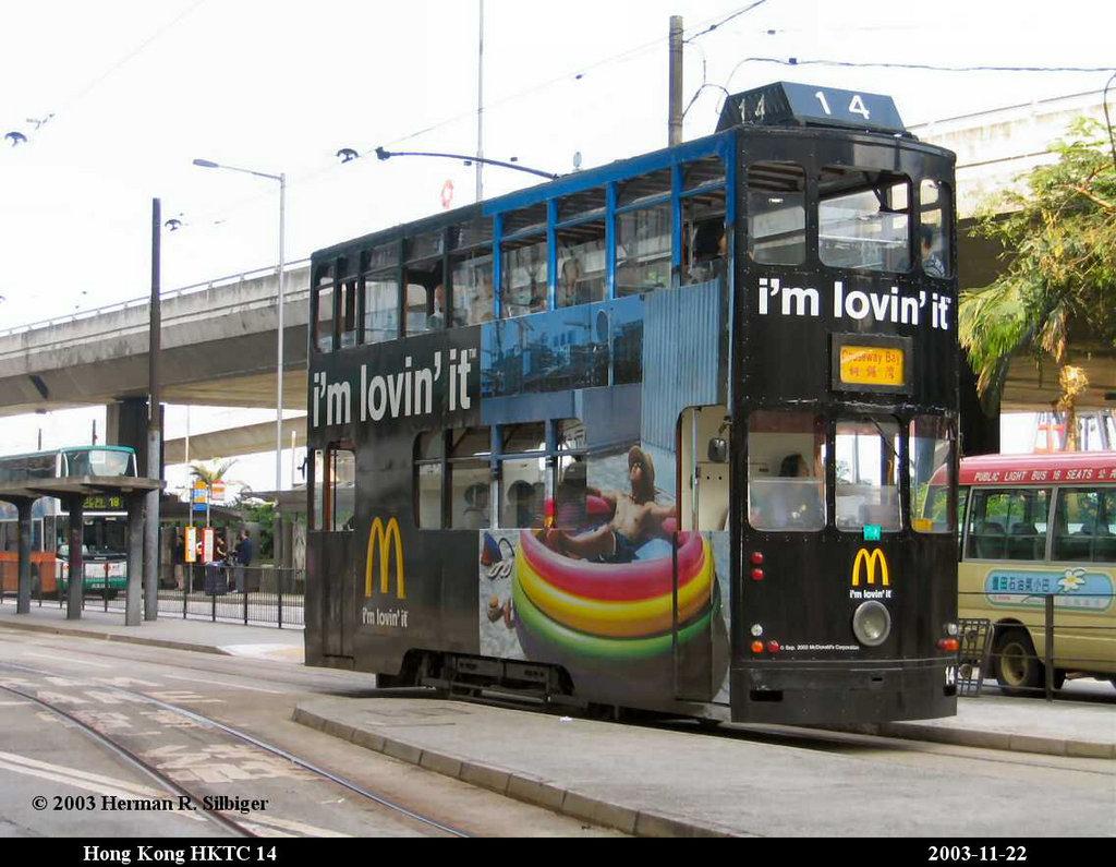 (191k, 1024x795)<br><b>Country:</b> China (Hong Kong)<br><b>City:</b> Hong Kong<br><b>System:</b> Hong Kong Tramway Ltd.<br><b>Car:</b>  14 <br><b>Photo by:</b> Herman R. Silbiger<br><b>Date:</b> 11/22/2003<br><b>Viewed (this week/total):</b> 2 / 1225