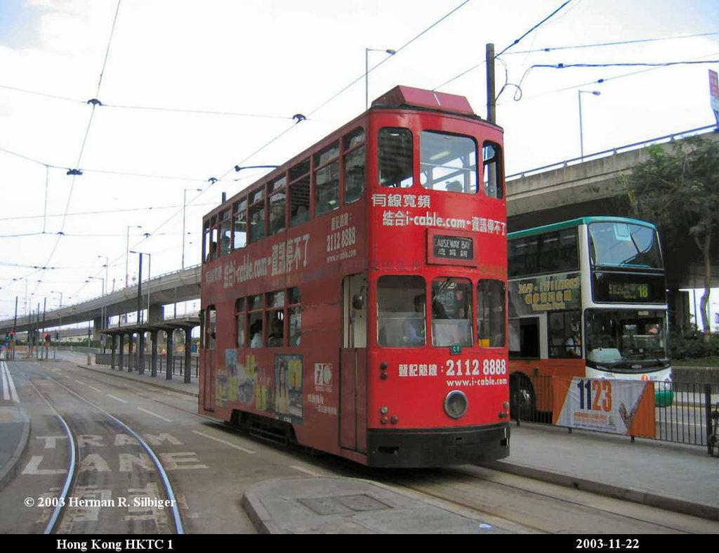 (163k, 1024x787)<br><b>Country:</b> China (Hong Kong)<br><b>City:</b> Hong Kong<br><b>System:</b> Hong Kong Tramway Ltd.<br><b>Car:</b>  1 <br><b>Photo by:</b> Herman R. Silbiger<br><b>Date:</b> 11/22/2003<br><b>Viewed (this week/total):</b> 1 / 1422