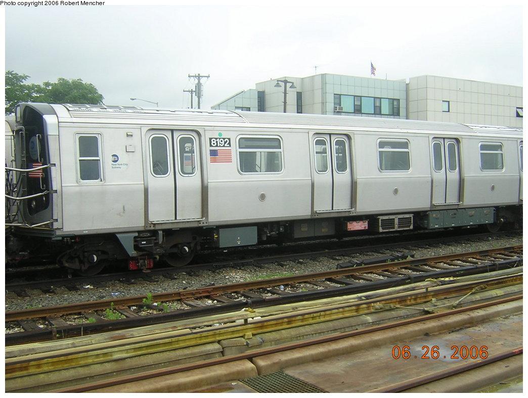 (197k, 1044x788)<br><b>Country:</b> United States<br><b>City:</b> New York<br><b>System:</b> New York City Transit<br><b>Location:</b> Rockaway Parkway (Canarsie) Yard<br><b>Car:</b> R-143 (Kawasaki, 2001-2002) 8192 <br><b>Photo by:</b> Robert Mencher<br><b>Date:</b> 6/26/2006<br><b>Viewed (this week/total):</b> 0 / 3334