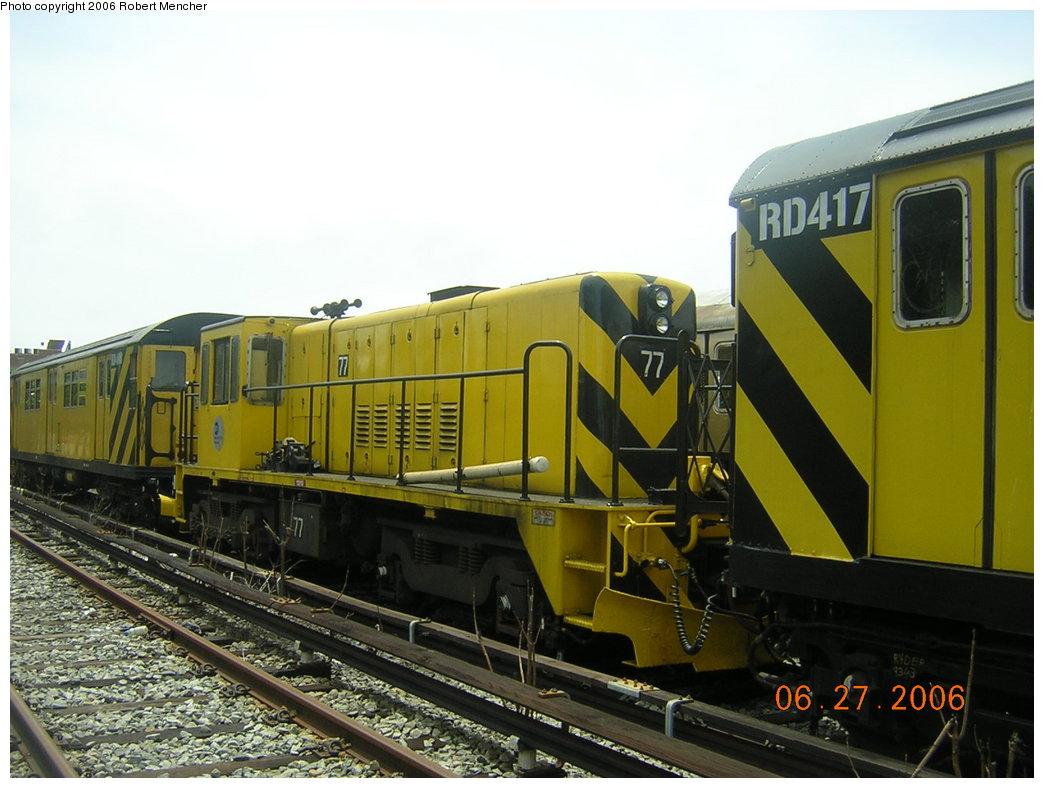 (190k, 1044x788)<br><b>Country:</b> United States<br><b>City:</b> New York<br><b>System:</b> New York City Transit<br><b>Location:</b> Rockaway Parkway (Canarsie) Yard<br><b>Car:</b> R-52 Locomotive  77 <br><b>Photo by:</b> Robert Mencher<br><b>Date:</b> 6/27/2006<br><b>Viewed (this week/total):</b> 0 / 1348