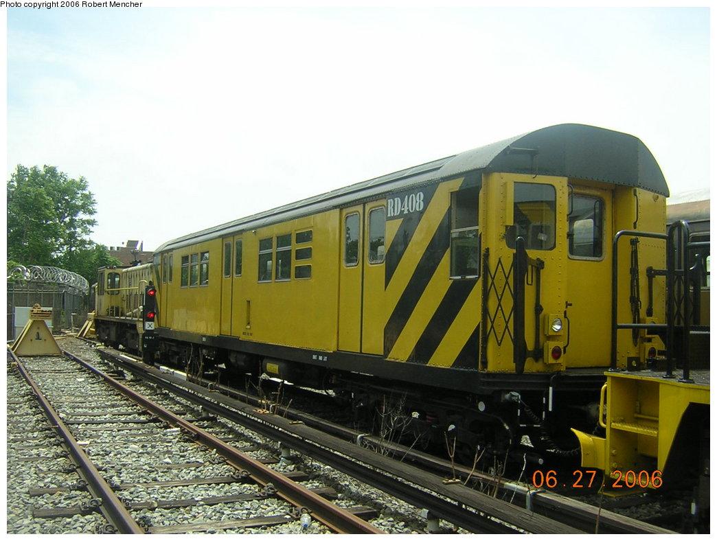 (206k, 1044x788)<br><b>Country:</b> United States<br><b>City:</b> New York<br><b>System:</b> New York City Transit<br><b>Location:</b> Rockaway Parkway (Canarsie) Yard<br><b>Car:</b> R-161 Rider Car (ex-R-33)  RD408 (ex-8890)<br><b>Photo by:</b> Robert Mencher<br><b>Date:</b> 6/27/2006<br><b>Viewed (this week/total):</b> 0 / 2421