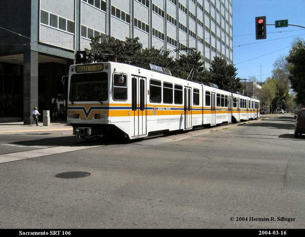 (219k, 1024x795)<br><b>Country:</b> United States<br><b>City:</b> Sacramento, CA<br><b>System:</b> SACRT Light Rail<br><b>Location:</b> 8th & O <br><b>Car:</b> Sacramento Siemens LRV  106 <br><b>Photo by:</b> Herman R. Silbiger<br><b>Date:</b> 3/16/2004<br><b>Viewed (this week/total):</b> 2 / 1281