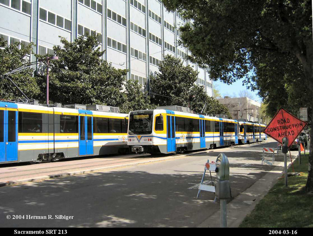 (263k, 1024x774)<br><b>Country:</b> United States<br><b>City:</b> Sacramento, CA<br><b>System:</b> SACRT Light Rail<br><b>Location:</b> 8th & O <br><b>Car:</b> Sacramento CAF LRV  213 <br><b>Photo by:</b> Herman R. Silbiger<br><b>Date:</b> 3/16/2004<br><b>Viewed (this week/total):</b> 0 / 1090