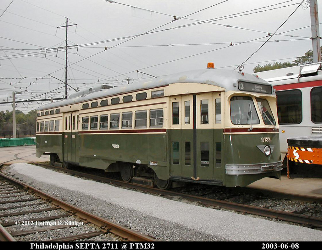 (209k, 1024x795)<br><b>Country:</b> United States<br><b>City:</b> Philadelphia, PA<br><b>System:</b> SEPTA (or Predecessor)<br><b>Location:</b> Elmwood Depot <br><b>Car:</b> PTC/SEPTA Postwar All-electric PCC (St.Louis, 1947)  2732 <br><b>Photo by:</b> Herman R. Silbiger<br><b>Date:</b> 6/8/2003<br><b>Viewed (this week/total):</b> 1 / 1431