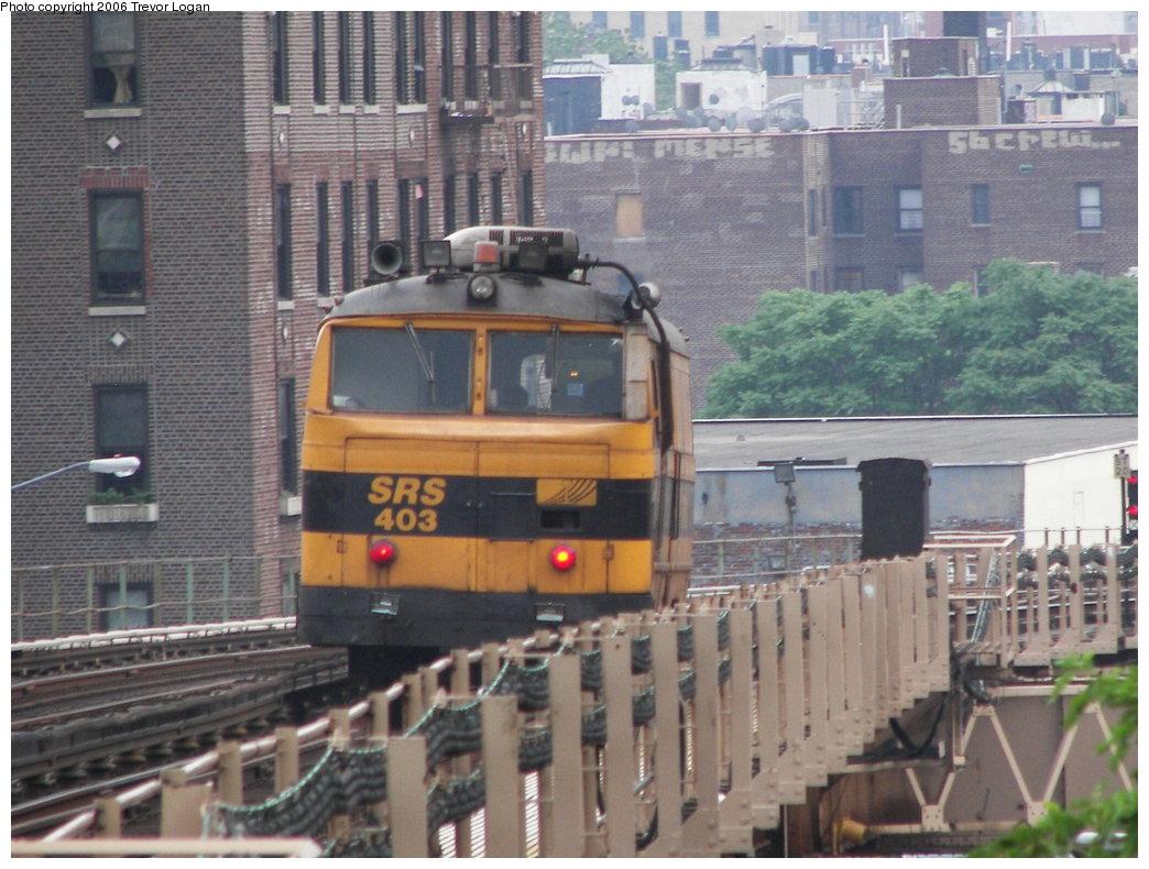 (239k, 1044x790)<br><b>Country:</b> United States<br><b>City:</b> New York<br><b>System:</b> New York City Transit<br><b>Line:</b> IRT Woodlawn Line<br><b>Location:</b> 183rd Street <br><b>Route:</b> Work Service<br><b>Car:</b> Sperry Rail Service  403 <br><b>Photo by:</b> Trevor Logan<br><b>Date:</b> 6/19/2006<br><b>Viewed (this week/total):</b> 5 / 3746