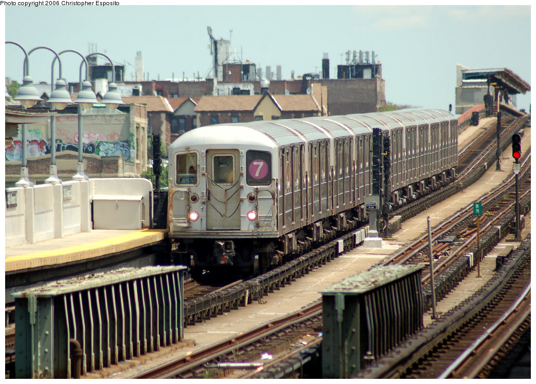 (228k, 1044x748)<br><b>Country:</b> United States<br><b>City:</b> New York<br><b>System:</b> New York City Transit<br><b>Line:</b> IRT Flushing Line<br><b>Location:</b> 33rd Street/Rawson Street <br><b>Route:</b> 7<br><b>Car:</b> R-62A (Bombardier, 1984-1987)   <br><b>Photo by:</b> Christopher Esposito<br><b>Date:</b> 7/7/2006<br><b>Viewed (this week/total):</b> 0 / 2236