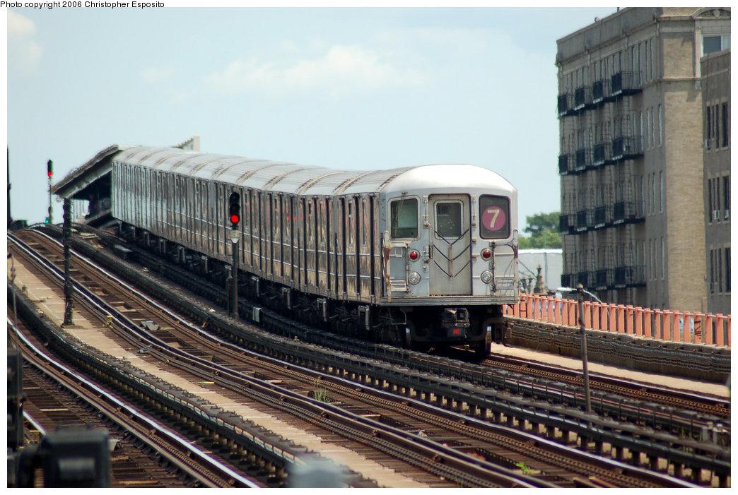 (198k, 1044x701)<br><b>Country:</b> United States<br><b>City:</b> New York<br><b>System:</b> New York City Transit<br><b>Line:</b> IRT Flushing Line<br><b>Location:</b> 33rd Street/Rawson Street <br><b>Route:</b> 7<br><b>Car:</b> R-62A (Bombardier, 1984-1987)   <br><b>Photo by:</b> Christopher Esposito<br><b>Date:</b> 7/7/2006<br><b>Viewed (this week/total):</b> 1 / 2201