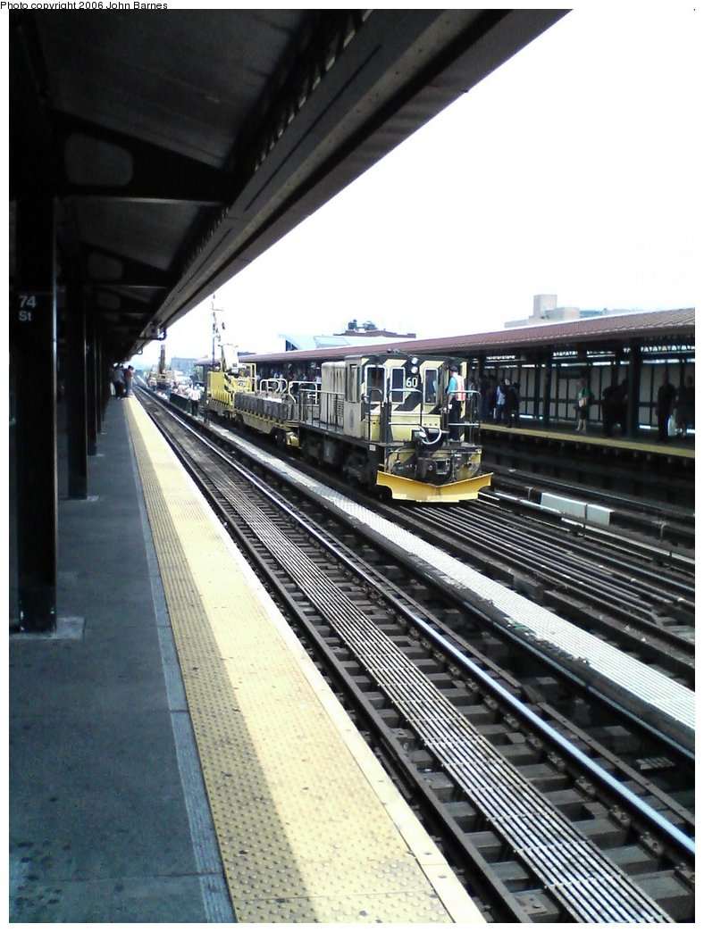 (165k, 788x1044)<br><b>Country:</b> United States<br><b>City:</b> New York<br><b>System:</b> New York City Transit<br><b>Line:</b> IRT Flushing Line<br><b>Location:</b> 74th Street/Broadway <br><b>Route:</b> Work Service<br><b>Car:</b> R-43 Locomotive  60 <br><b>Photo by:</b> John Barnes<br><b>Date:</b> 7/2/2006<br><b>Viewed (this week/total):</b> 2 / 2569
