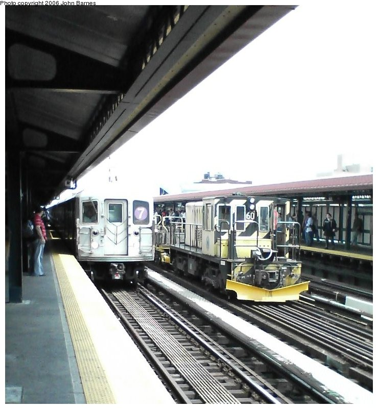 (113k, 740x802)<br><b>Country:</b> United States<br><b>City:</b> New York<br><b>System:</b> New York City Transit<br><b>Line:</b> IRT Flushing Line<br><b>Location:</b> 74th Street/Broadway <br><b>Route:</b> Work Service<br><b>Car:</b> R-43 Locomotive  60 <br><b>Photo by:</b> John Barnes<br><b>Date:</b> 7/2/2006<br><b>Viewed (this week/total):</b> 0 / 2757