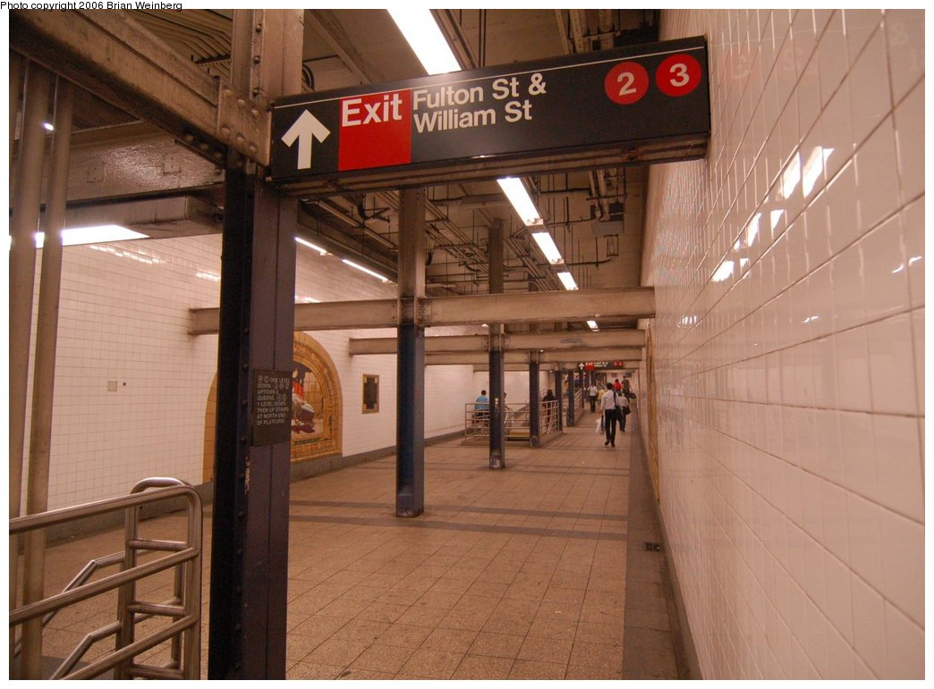 (209k, 1044x771)<br><b>Country:</b> United States<br><b>City:</b> New York<br><b>System:</b> New York City Transit<br><b>Line:</b> IND 8th Avenue Line<br><b>Location:</b> Fulton Street (Broadway/Nassau) <br><b>Photo by:</b> Brian Weinberg<br><b>Date:</b> 6/28/2006<br><b>Notes:</b> Eastern mezzanine, looking east. This is part of the Fulton Street station complex.<br><b>Viewed (this week/total):</b> 0 / 3303