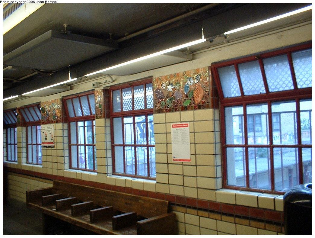 (204k, 1044x788)<br><b>Country:</b> United States<br><b>City:</b> New York<br><b>System:</b> New York City Transit<br><b>Line:</b> BMT Brighton Line<br><b>Location:</b> Parkside Avenue <br><b>Photo by:</b> John Barnes<br><b>Date:</b> 7/9/2006<br><b>Artwork:</b> <i>Brighton Clay Re-Leaf</i>, Susan Tunick (1994).<br><b>Viewed (this week/total):</b> 5 / 2662