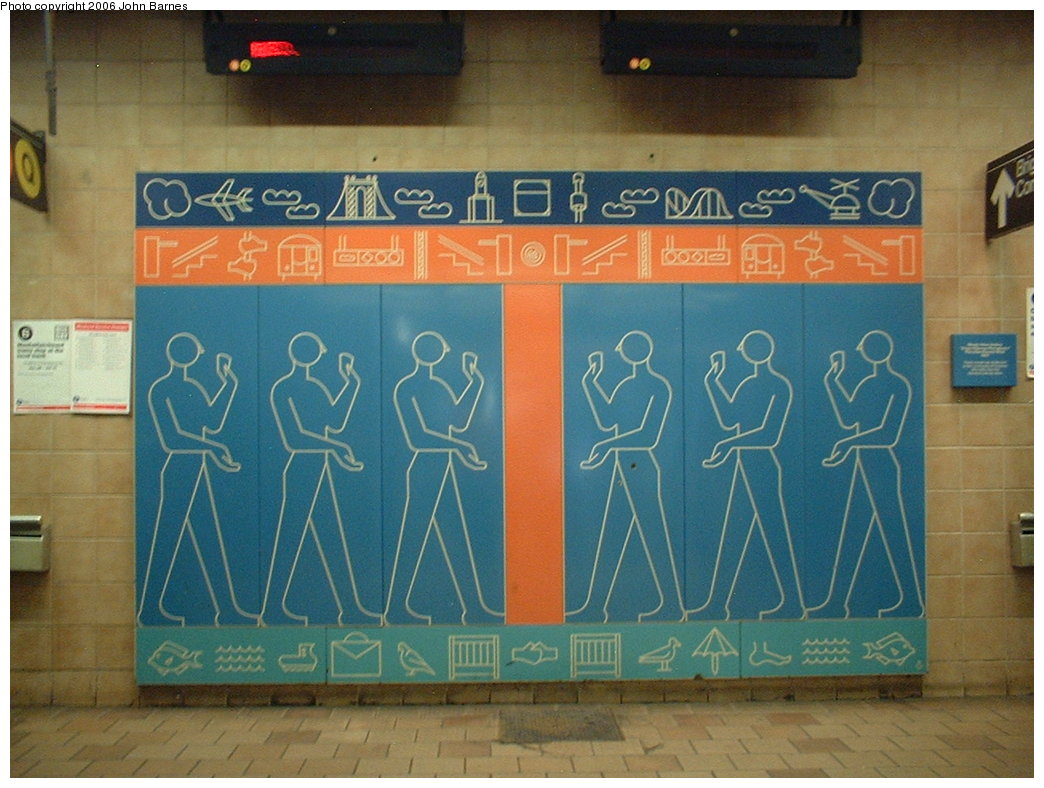 (181k, 1044x788)<br><b>Country:</b> United States<br><b>City:</b> New York<br><b>System:</b> New York City Transit<br><b>Line:</b> BMT Brighton Line<br><b>Location:</b> Kings Highway <br><b>Photo by:</b> John Barnes<br><b>Date:</b> 7/9/2006<br><b>Artwork:</b> <i>Kings Highway Hieroglyphics</i>, Rhoda Yohai Andors (1987).<br><b>Viewed (this week/total):</b> 1 / 2662